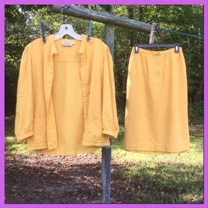 Vtg. 2pc. Mustard Silk Skirt set